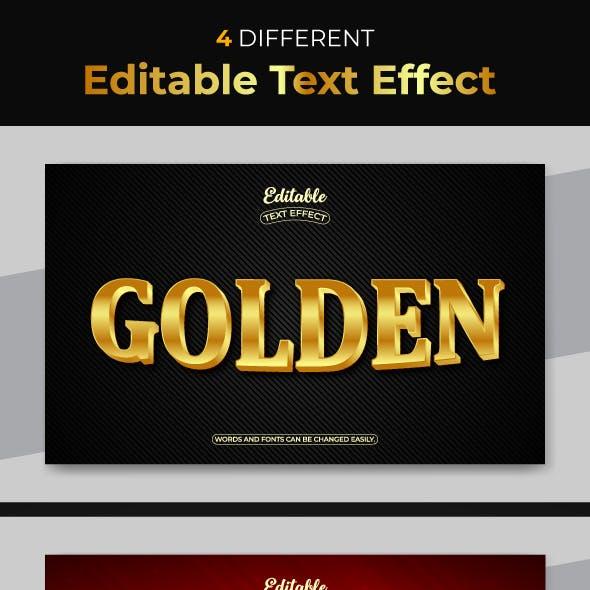 Golden 3D Editable Text Style Effect