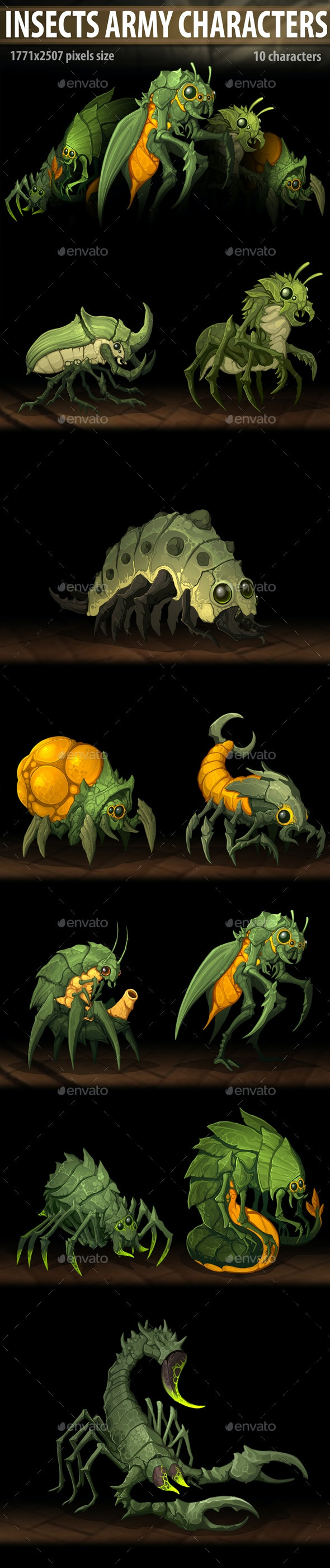 Insects Army Characters - Miscellaneous Game Assets