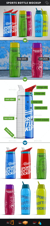 3 Sport Bottle Mockup - Food and Drink Packaging