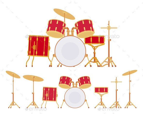 Complete Drum Set with Cymbals and Stands - Miscellaneous Vectors