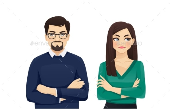 Woman and Man Angry Emotion - Miscellaneous Vectors