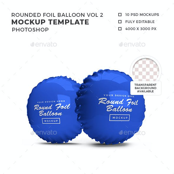 Rounded Foil Balloon 3D Mockup Template Vol 2