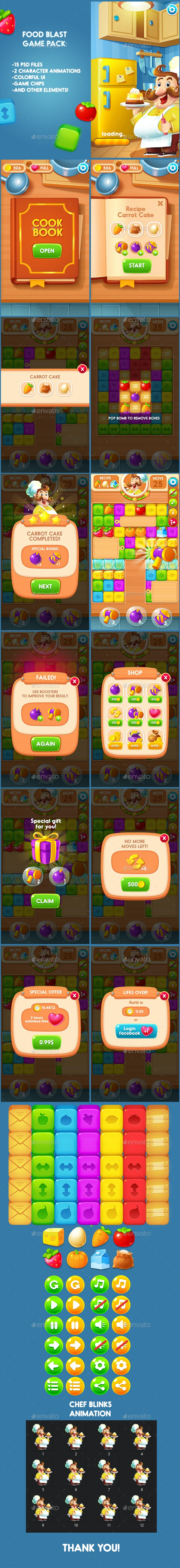 Food Blast Game Pack - Game Kits Game Assets