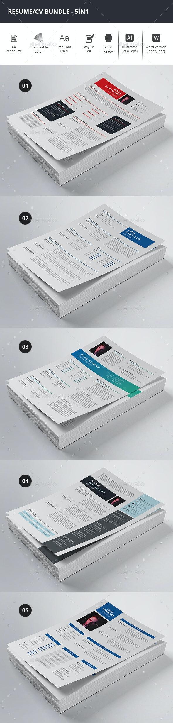 Resume/CV Bundle - 5in1 - Resumes Stationery
