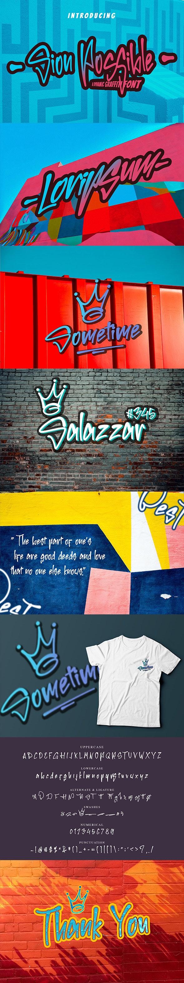 Sion Possible Graffiti Font - Graffiti Fonts
