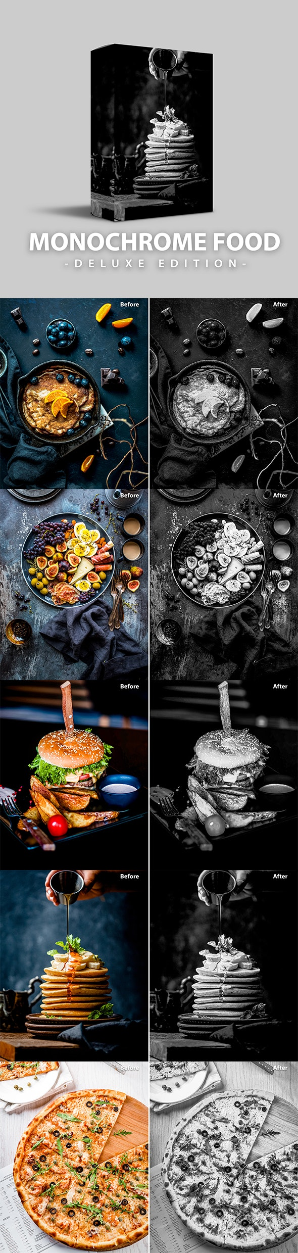 Monochrome Food | Deluxe Edition for Mobile and PC - Black and white Lightroom Presets