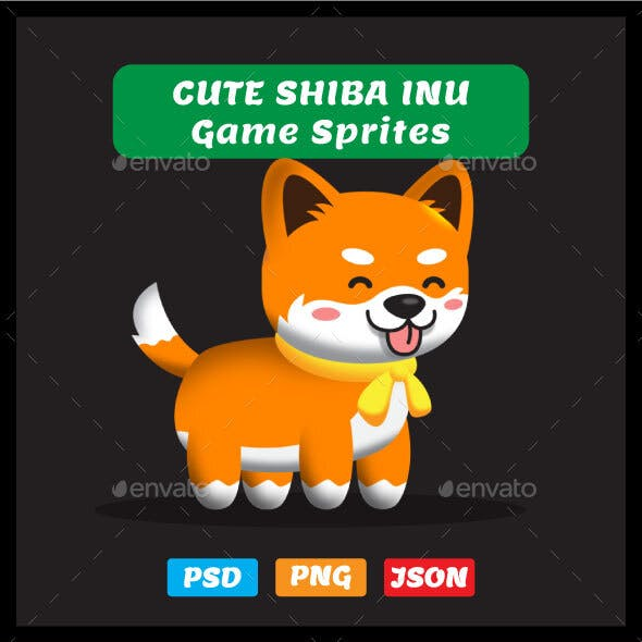 Shiba Inu Sprites - 2D Game Asset Puppy