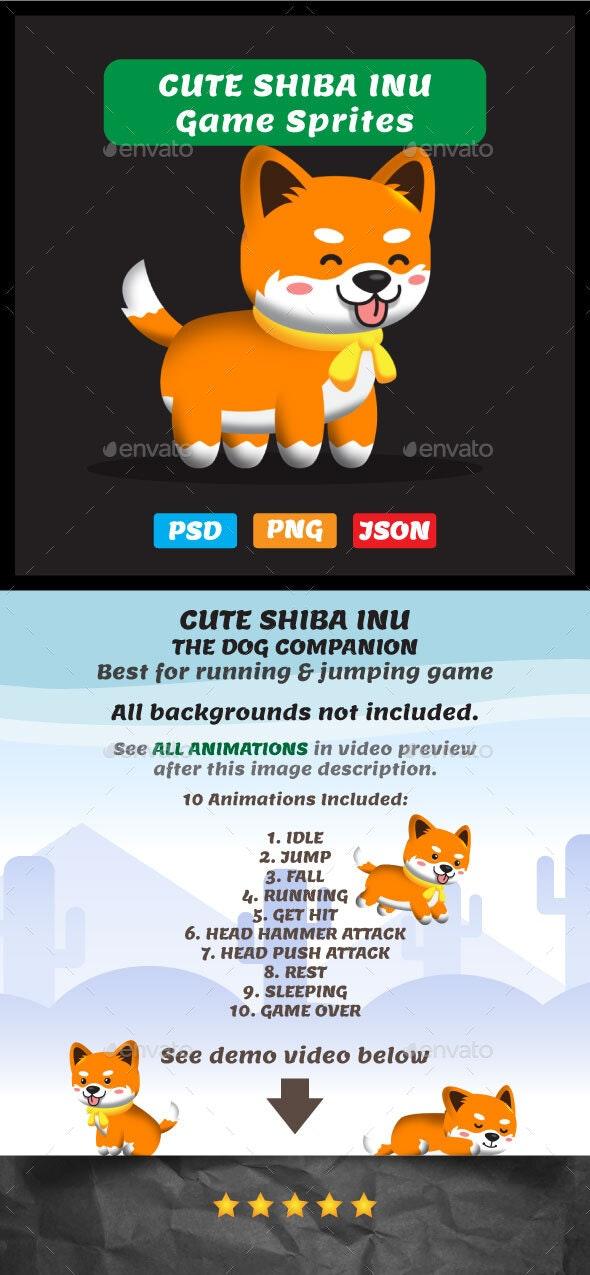 Shiba Inu Sprites - 2D Game Asset Puppy - Sprites Game Assets