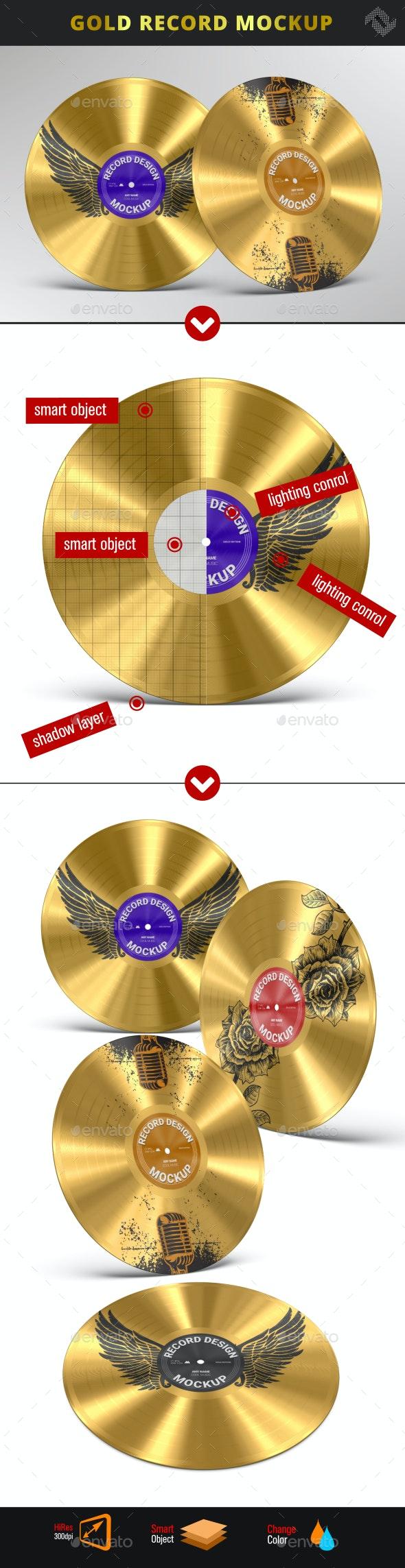Gold Record Music Disc Award Mockup - Product Mock-Ups Graphics