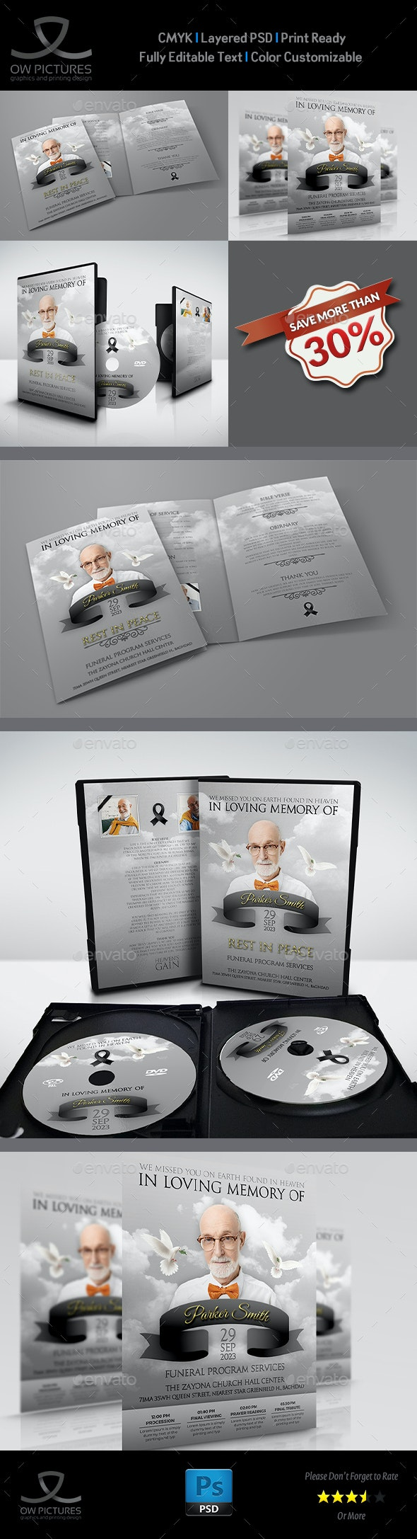 Memorial and Funeral Program Bundle Template - Miscellaneous Print Templates