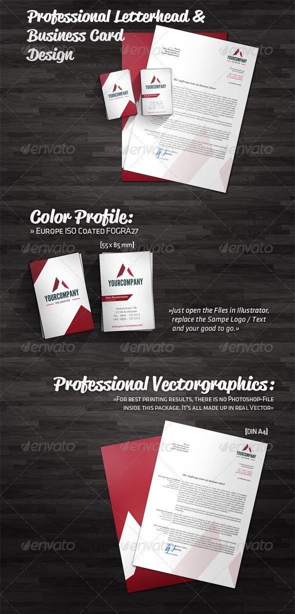 Professional Letterhead and Business Card Design - Stationery Print Templates