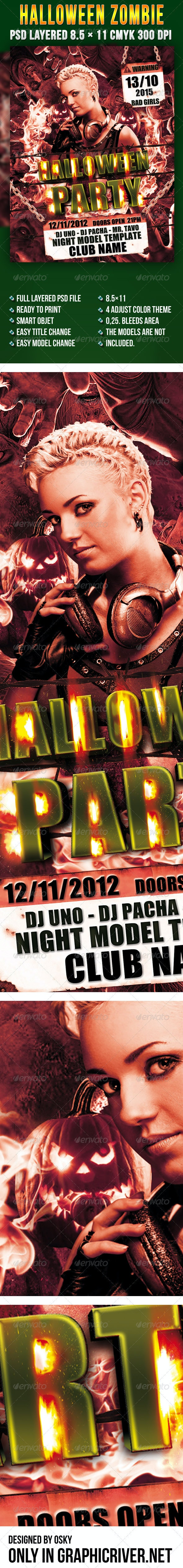 Halloween Zombie Flyer - Clubs & Parties Events