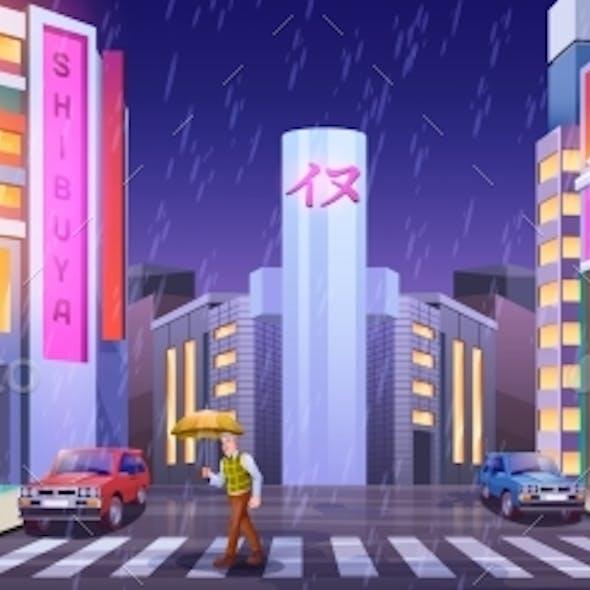 Pedestrians in Night City with Umbrellas Crossing
