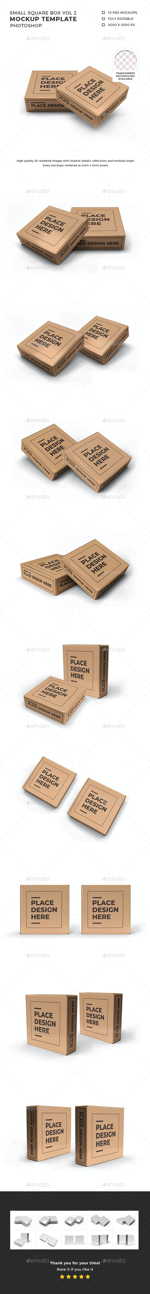 Small Square Box Mockup Template Vol 2 - Packaging Product Mock-Ups