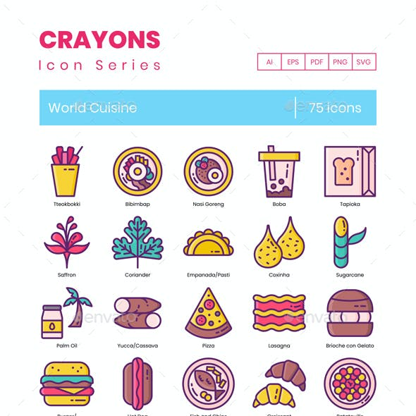 75 World Cuisine Icons | Crayons Series