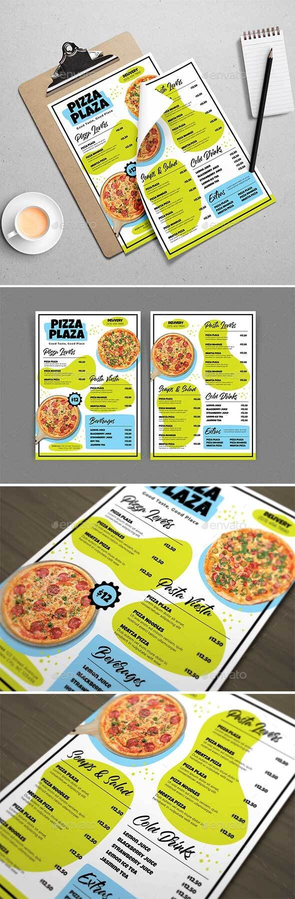 Pizza Plaza Menu Template - Food Menus Print Templates