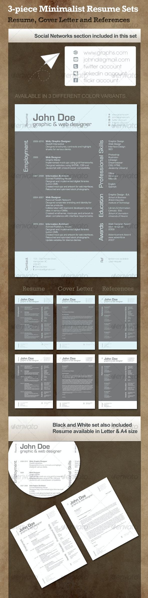 3-Piece Minimalist Resume