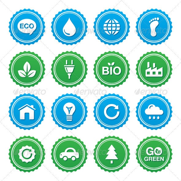 Eco green labels set - ecology, recyling, eco powe