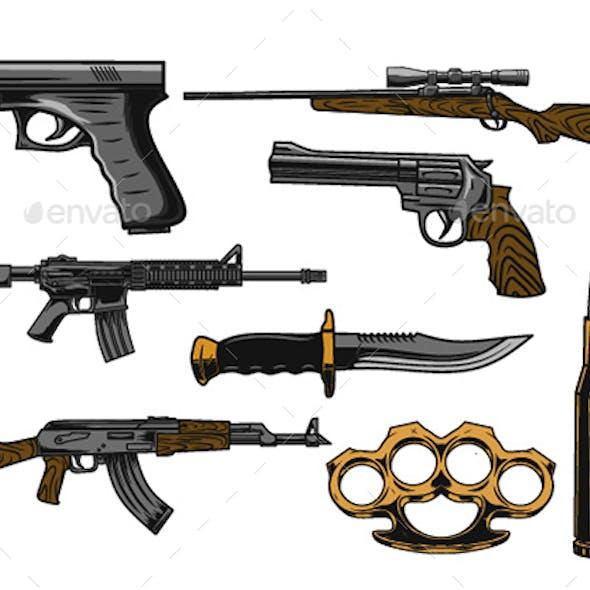8 Weapon Illustration Design set