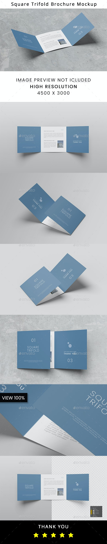 Trifold Square Brochure Mockup - Brochures Print