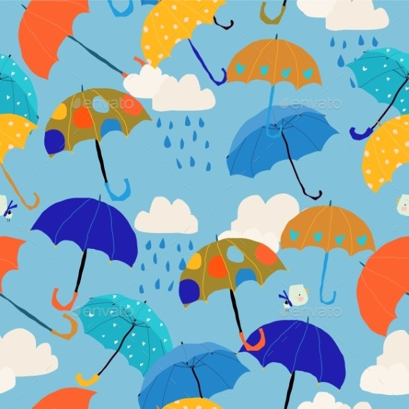 Seamless Pattern with Colorful Umbrellas in the - Miscellaneous Vectors