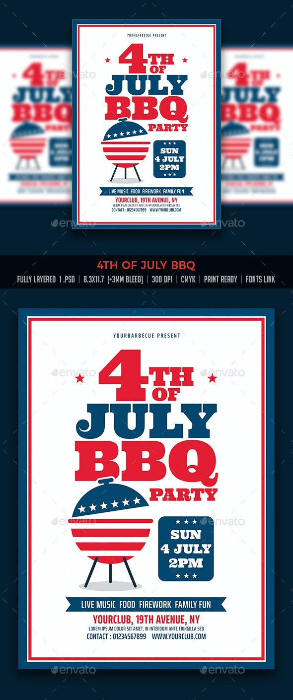 4th of July BBQ - Events Flyers
