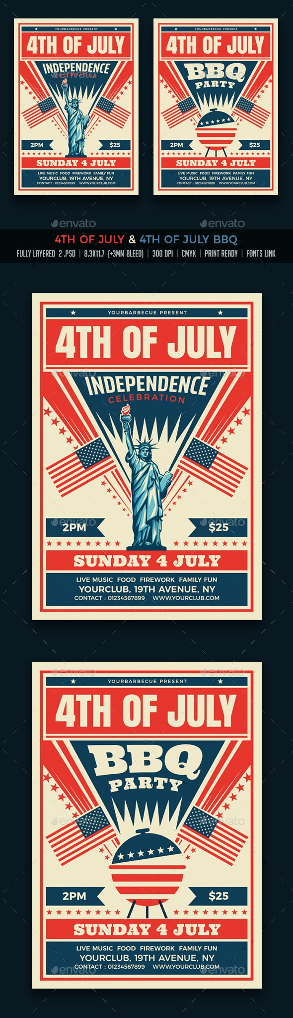4th of July / July 4th BBQ Flyers - Events Flyers