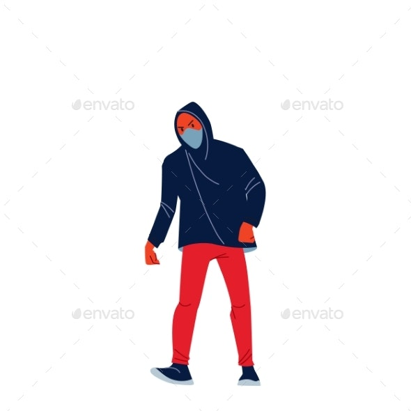 African American Young Angry Man in a Hood Marches - People Characters