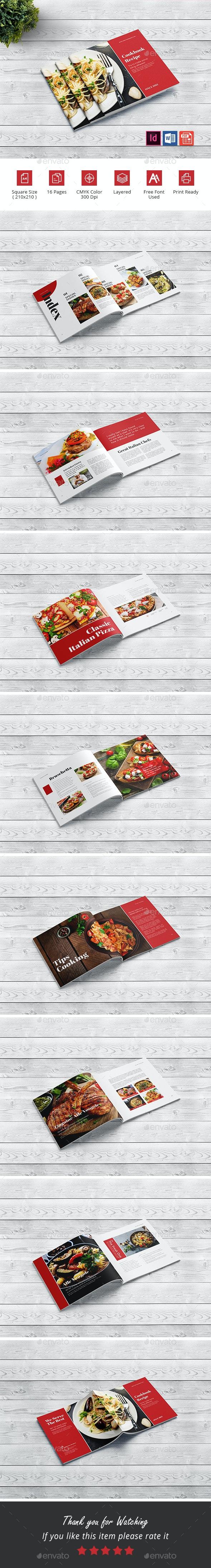 Square Cookbook Brochure - Food Menus Print Templates