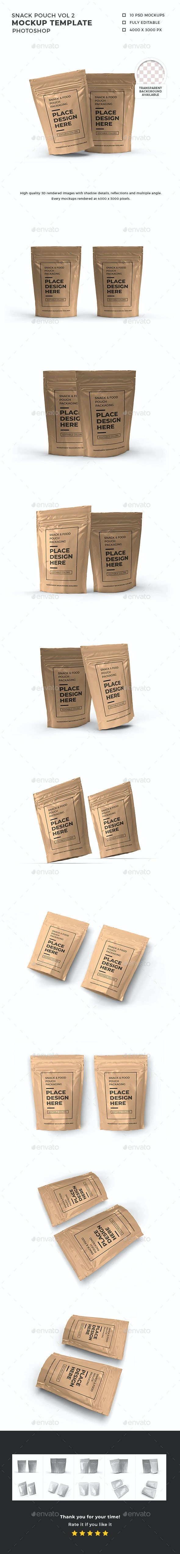 Snack Pouch Packaging Mockup Template Vol 2 - Food and Drink Packaging
