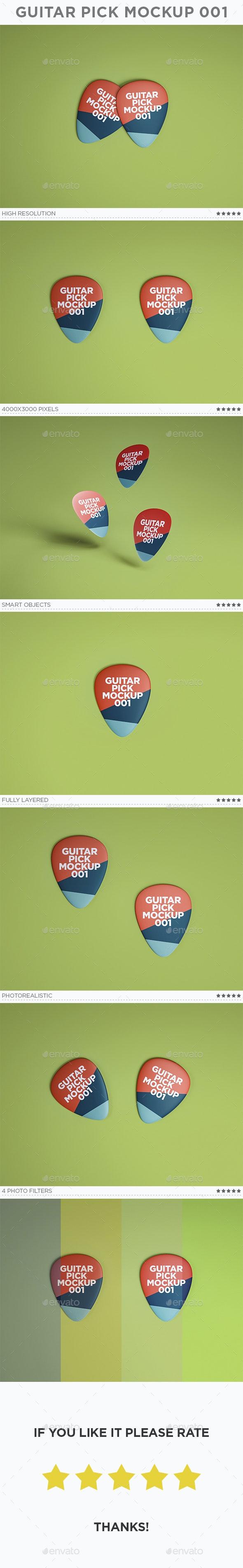 Guitar Pick Mockup 001 - Miscellaneous Product Mock-Ups