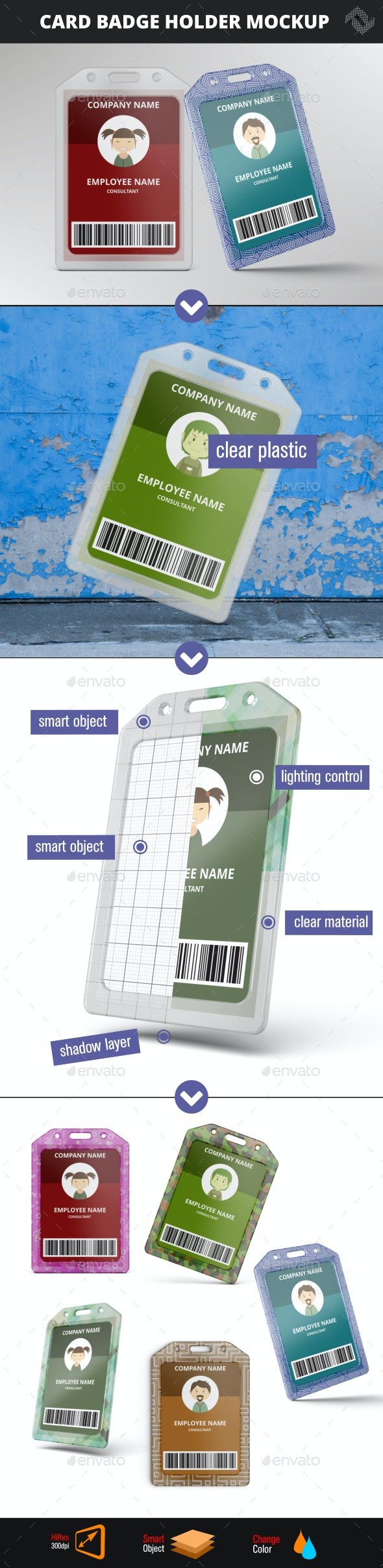 Card Badge Name Tag Holder Vertical Soft Clear PVC Mockup - Product Mock-Ups Graphics