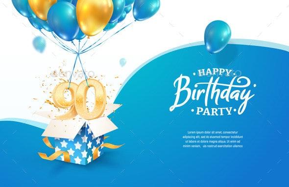 Celebrating 90Th Years Birthday Vector - Seasons/Holidays Conceptual