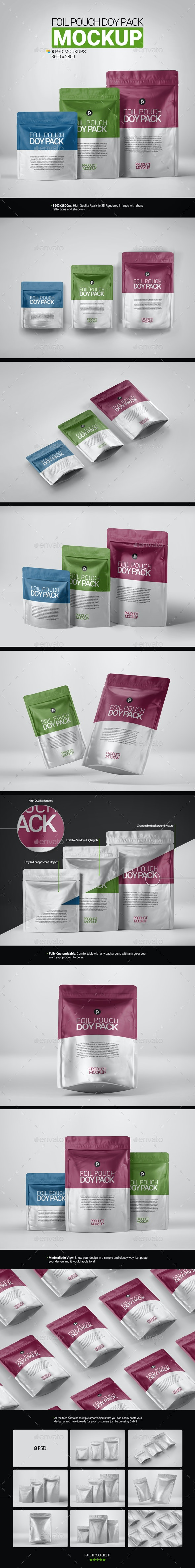 Foil Pouch Doypack Mockup - Food and Drink Packaging