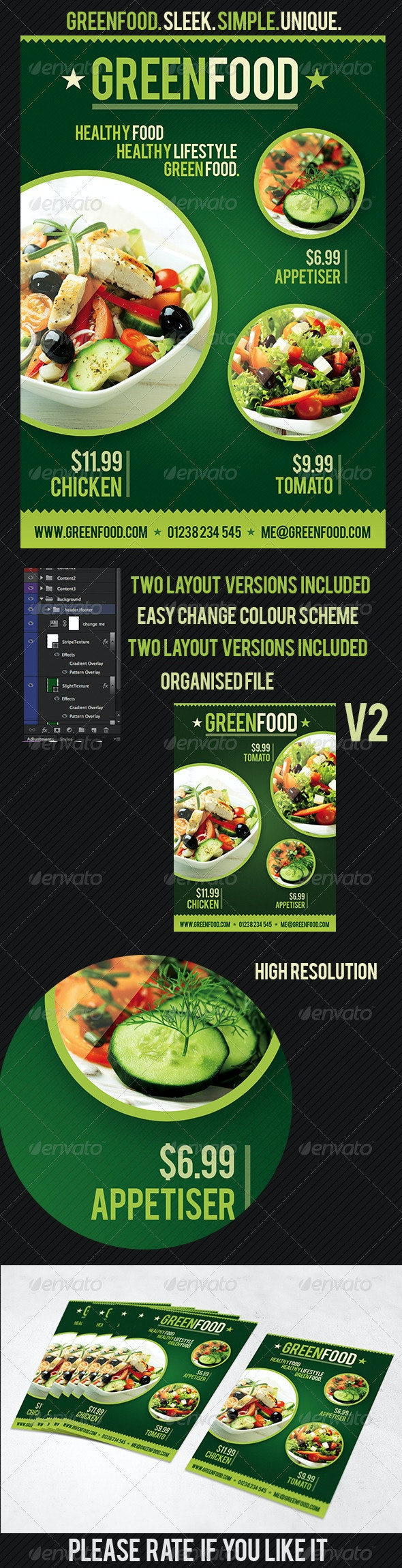 Health Food Flyer Template | GreenFood - Restaurant Flyers