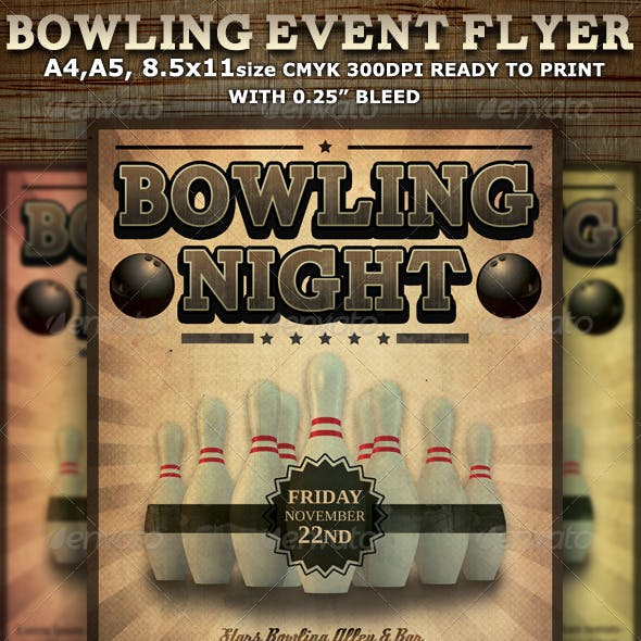 Bowling Event Party Flyer Template