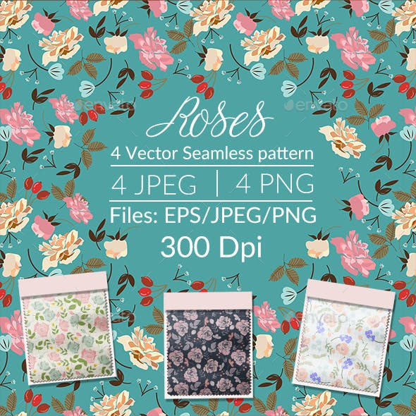 Spring Roses Seamless Pattern.