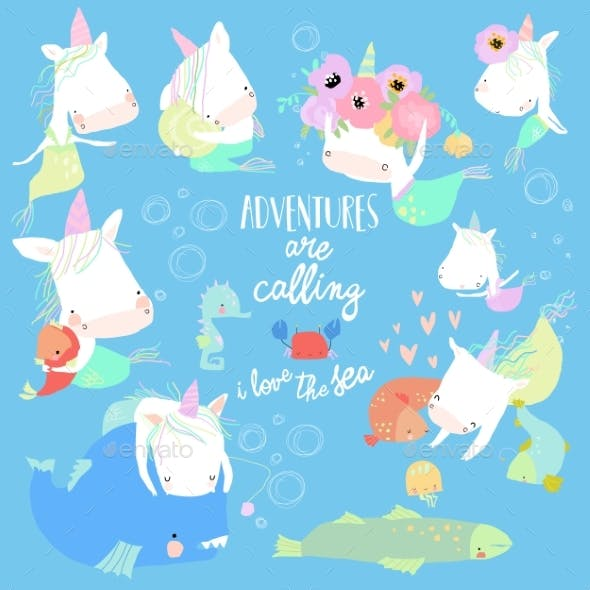 Set with Cartoon Unicorns Mermaids in the Sea