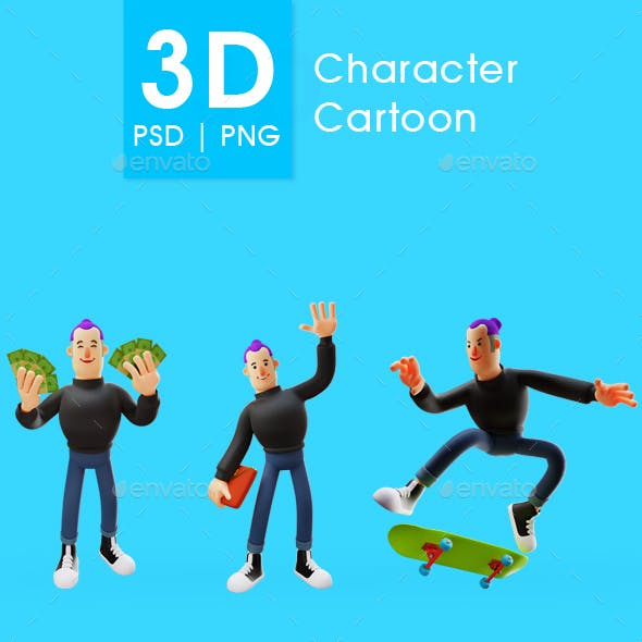 Set of Man Illustration 3D With Different Pose