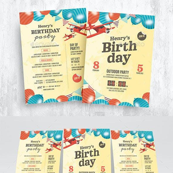 Boys Birthday Invitation Flyer