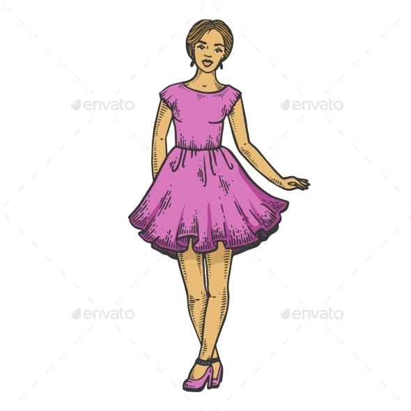 Young Woman in Summer Dress Line Art Sketch Vector - Man-made Objects Objects