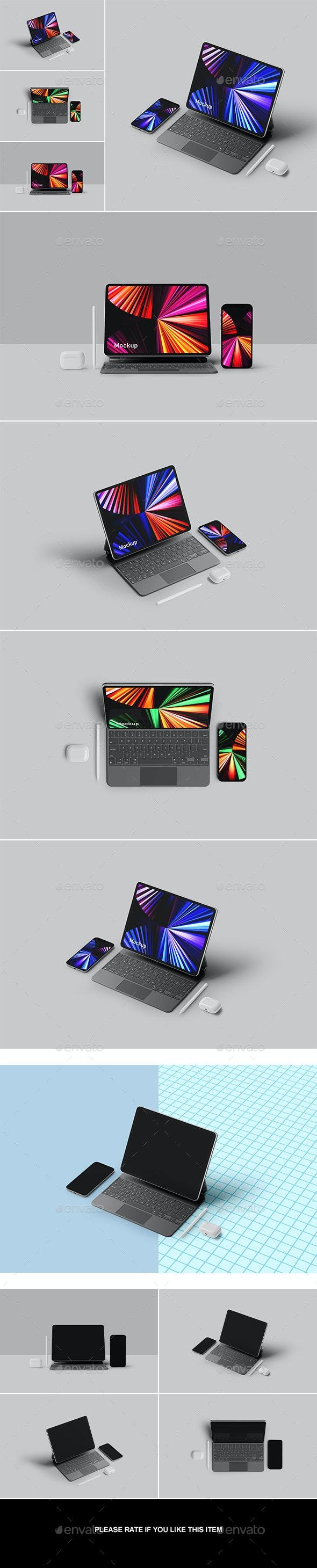 Pad Pro with Phone 12 Pro Mockup - Displays Product Mock-Ups