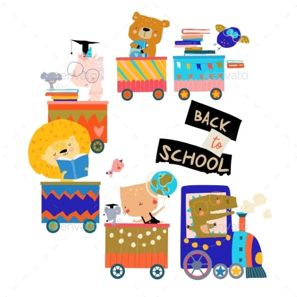 Happy Cartoon Animals Riding to the School By