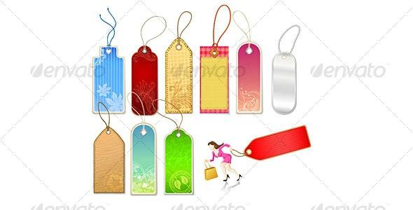 Various Tags and Businesswoman Figure - Decorative Vectors