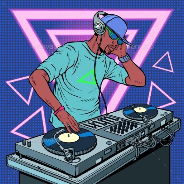 Black Man Dj on Vinyl Turntables