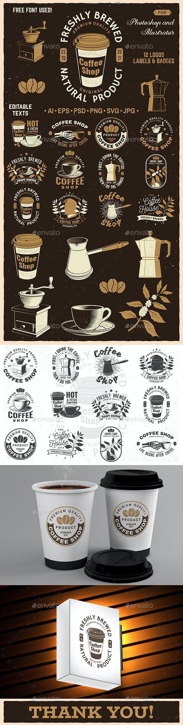Coffee Shop Badges/Logos - Badges & Stickers Web Elements
