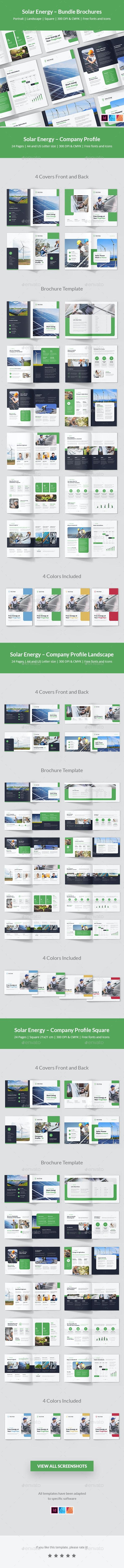 Solar Energy – Comapny Profile Bundle Brochures 3 in 1 - Corporate Brochures