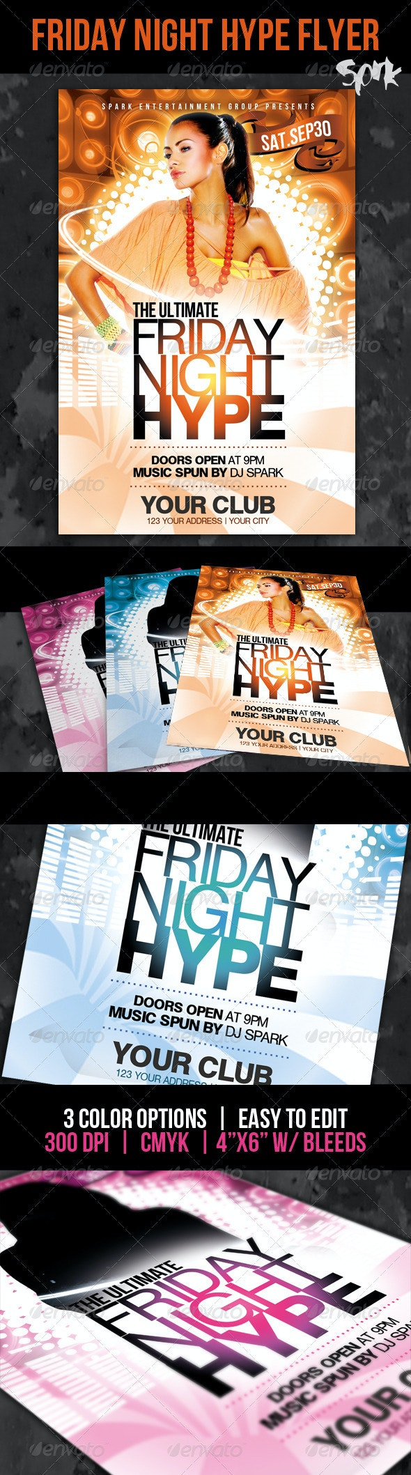 Night Hype Party Flyer Template - Clubs & Parties Events