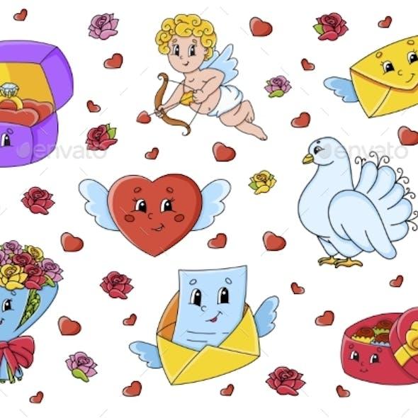 Set of Cute Cartoon Characters