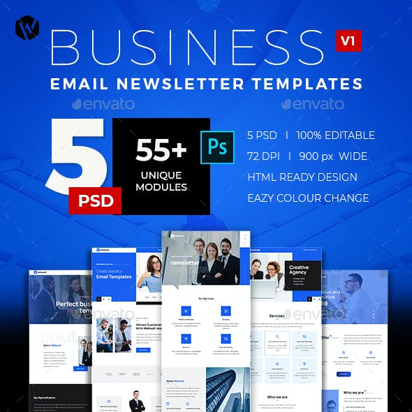 Download 5 Email Newsletter PSD Templates V1